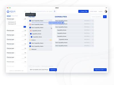 Advanced multistep filtering concept blue fresh modern aqua figma angular application dashboard minimal flat app ux branding ui logo design additive