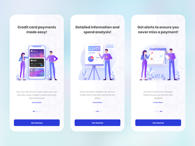 Intro Journey Credit Cards Bill Payment interaction design visual clean minimal trendy onboarding product design finance app app design modern design fintech colors visualization credit card payment uidesign intro screen visual design