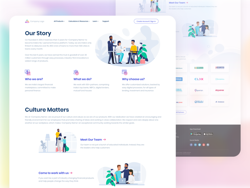 About Us Page Exploration about landing page landing page ui lending services creative landing page concept landing page design clean minimal layout colors typography ux design ui design landing pages about us page about us
