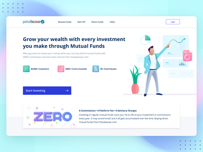 Mutual Funds Investment Landing Page vivid uidesign ux design landing page ui desktop landing page finacial platform minimal illustration colors modern design growth finance business landing page investment
