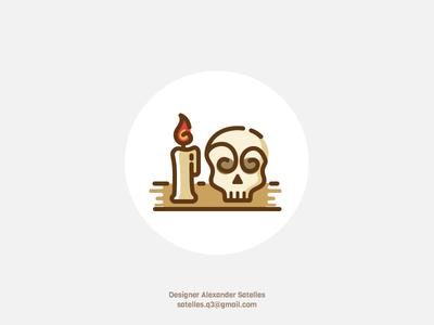 Nostalgia mystic icon creative candle skull icon curl vintage