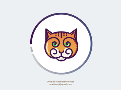 Curly Kitty icon line-art 2d cat curl