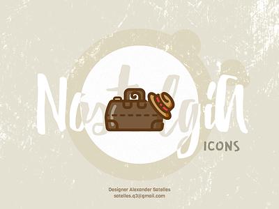Nostalgia Valise icon curl valise creative vintage 2d icon