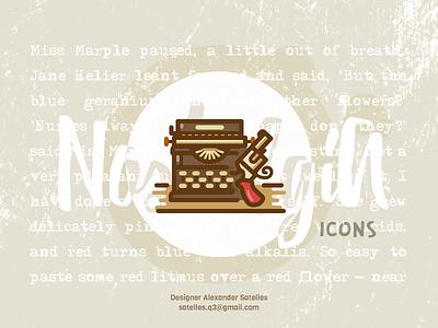 Nostalgia Typewriter detective icon vintage typewriter revolver icon detective curl creative 2d