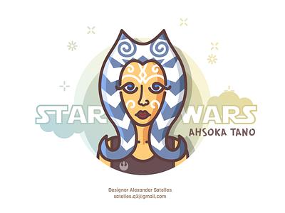 Ahsoka Tano female girl line-art 2d illustration ahsoka tano star wars
