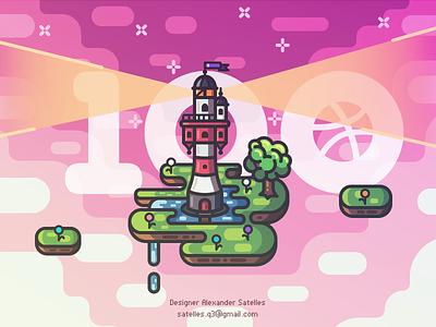 Dribbble 100+ Followers Anniversary tree island illustration line-art 2d creative lighthouse followers