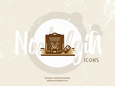 "Nostalgia ""Look At The Birdie"" icon antique bird vintage camera icon curl creative 2d"