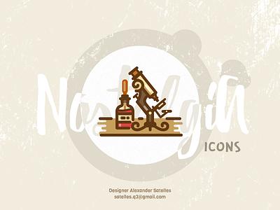 Nostalgia Science icon vintage icon curl creative microscope antique 2d