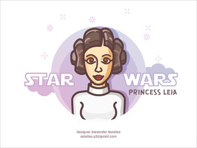 Princess Leia leia princess leia illustration 2d line-art star wars character girl female