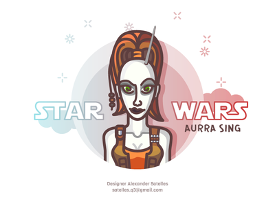 Aurra Sing female girl star wars character line-art 2d illustration aurra sing