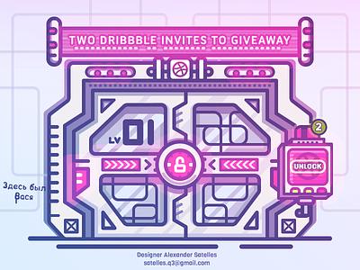 2 Dribbble Invites (players was drafted) dribbble gamification illustration 2d airlock sci-fi invite dribbble invite