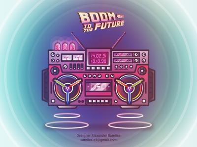 Boom to The Future illustration retro-future 2d back to the future boombox
