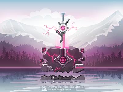 Dribbble's invites (finished) sword mountains vector landscape sci-fi invite