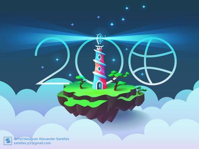 Hurrah! 200 followers floating island fantasy gradients lighthouse