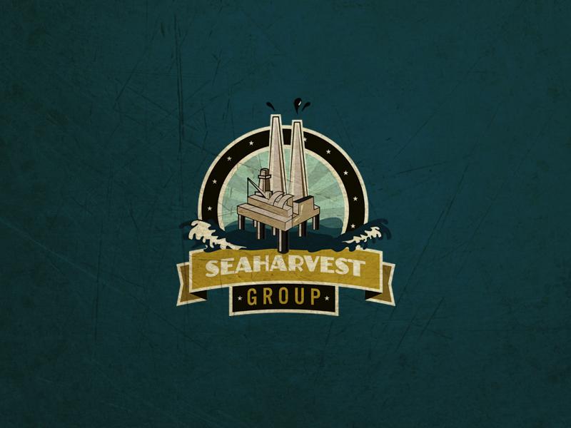 Seaharvest oil retro logo blue water badge illustrator branding
