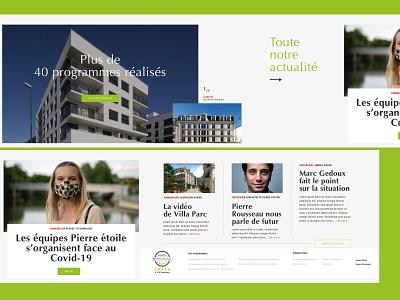 REALESTATE WEBSITE HORIZONTAL SCROLL - 2/5 ecommerce webdesign architecture green horizontal scroll website realestate