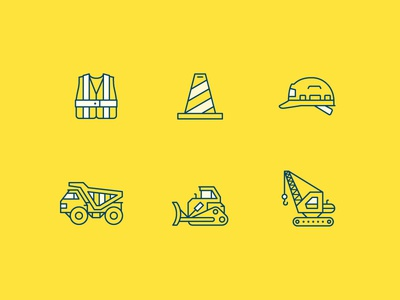 WIP Construction Safety Icons icon construction safety truck cone helmet dumptruck bulldozer crane line icons