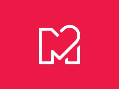 My Healthcare Mark type white red medical heart m mark icon brand identity logo