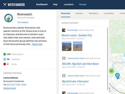 WIP Water Rangers - Group Dashboard dashboard web design ui