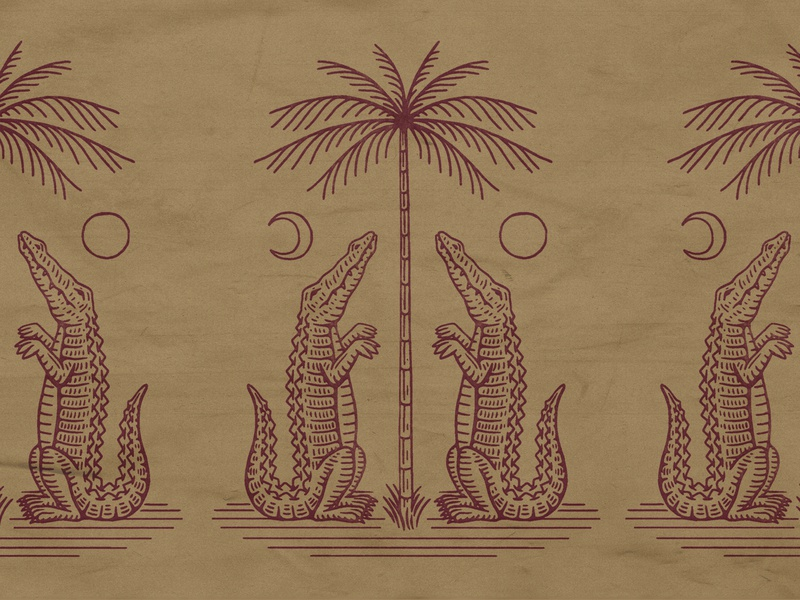 Florida palmtree gator florida drawing stamp texture graphic design vintage woodcut illustration travis pietsch