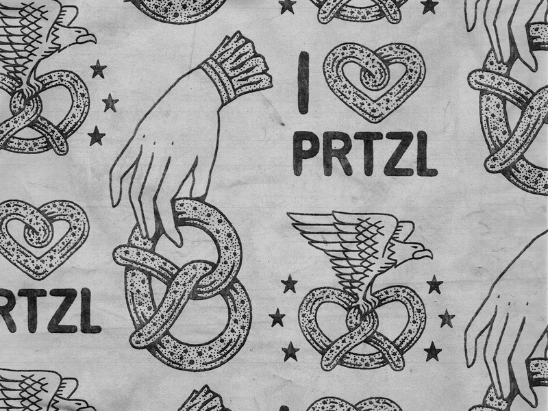 Pretzel Flash logo badge pretzel stamp texture graphic design vintage woodcut illustration travis pietsch design