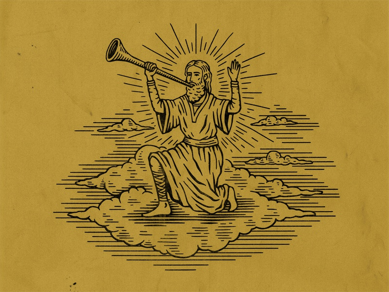Spot Illustration robe clouds god bible jesus church drawing stamp texture graphic design vintage woodcut illustration travis pietsch design