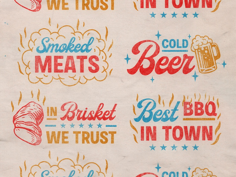 BBQ Lockups barbecue beer brisket typography bbq retro stamp texture graphic design vintage woodcut illustration travis pietsch design
