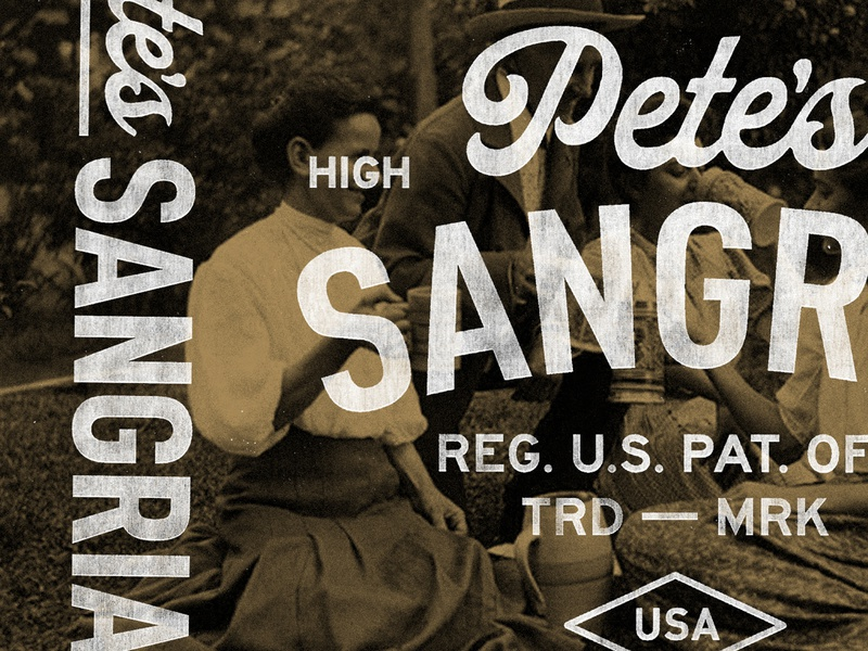 Pete's Sangria typography retro logo branding badge stamp texture graphic design vintage illustration travis pietsch design