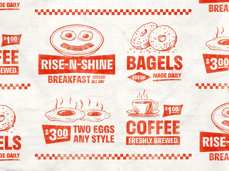 Rise-N-Shine branding design eggs diner breakfast retro type typopgraphy stamp texture graphic design vintage woodcut illustration travis pietsch design