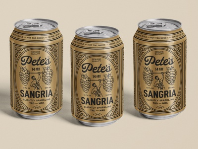 Petes Sangria Can Design label wine gold grapes logo sangria beer can can design retro can packaging branding graphic design vintage woodcut illustration travis pietsch design