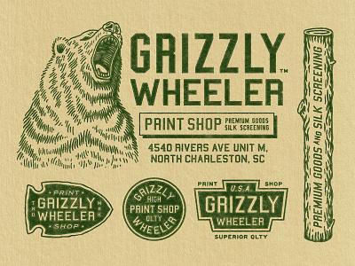 Grizzly Wheeler Lockups grizzly wheeler badge logo branding texture vintage woodcut illustration design travis pietsch