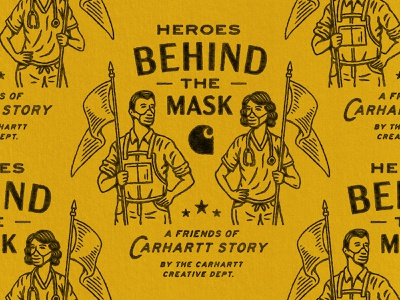 Carhartt: Heroes Behind The Mask graphic texture logo badge vintage woodcut illustration design travis pietsch