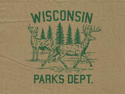 Wisconsin Parks Dept. retro deer branding design parks dept wiconsin tshirt branding graphic design vintage woodcut illustration travis pietsch design