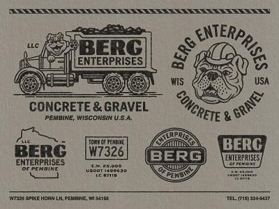 Berg Enterprises branding retro vintage woodcut graphic design logo badge illustration travis pietsch design