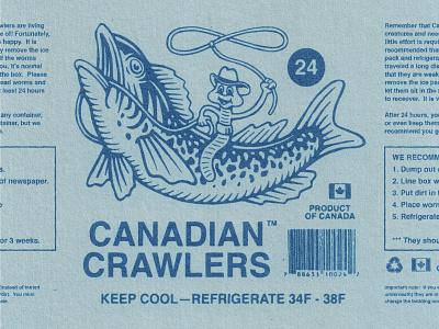 Canadian Crawlers badge logo fishing worms retro branding graphic design vintage woodcut illustration travis pietsch design