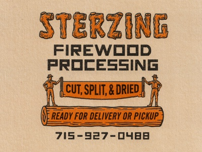 Sterzing Firewood badge handlettering customtype firewood retro logo branding graphic design vintage woodcut illustration design travis pietsch
