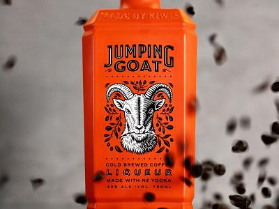 Jumping Goat Label Illustration liquor liqueur animal goat packaging retro logo graphic design vintage woodcut travis pietsch illustration design