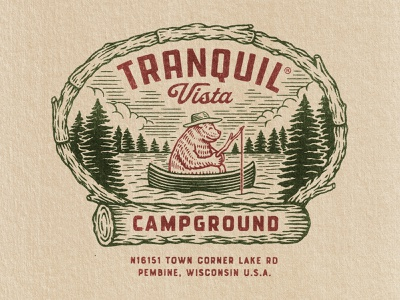 Tranquil Vista Campground tranquil vista campgrounds lake camping bear lockup badge tshirt branding logo retro graphic design vintage woodcut travis pietsch illustration design