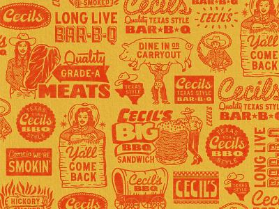 Cecil's Brand Elements (1/4) restuarant texas western pattern cowboy resturant bbq logos branding retro logo badge graphic design vintage woodcut travis pietsch illustration design