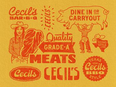 Cecil's Brand Elements (2/4) texas cowboy pig resturant bbq branding logo badge graphic design vintage woodcut travis pietsch illustration design