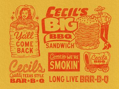 Cecil's Brand Elements (3/4) western texas sandwich retro branding logo badge graphic design vintage woodcut travis pietsch illustration design