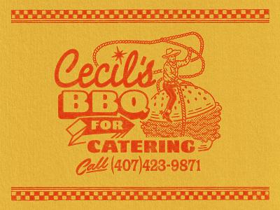 Cecil's Brand Elements (4/4) western cowboy catering resturant sandwich retro branding logo badge graphic design vintage woodcut travis pietsch illustration design