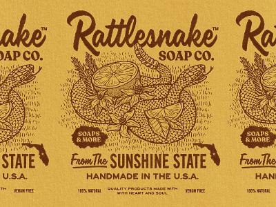 Rattlesnake Soap Co. typogaphy soap snake rattlesnake etching badge tshirt branding logo retro graphic design vintage woodcut travis pietsch illustration design