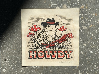 Howdy Riso Print retro woodcut artwork print design skateboard mushroom frog howdy riso risograph print texture graphic design vintage travis pietsch illustration design
