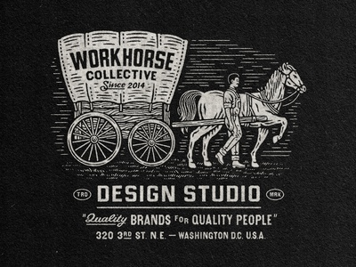 WorkHorse Design (1/3) typography horse logo branding horse logo badge stamp texture graphic design vintage woodcut travis pietsch illustration design