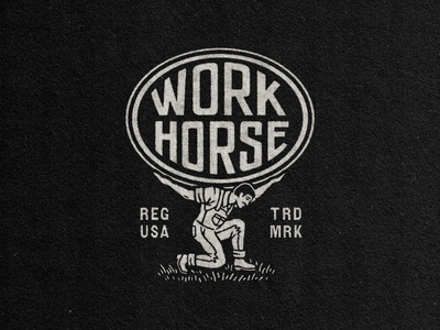 WorkHorse Designs (2/3) work horse logodesign retro typography custom type branding logo drawing badge stamp texture graphic design vintage woodcut travis pietsch design illustration