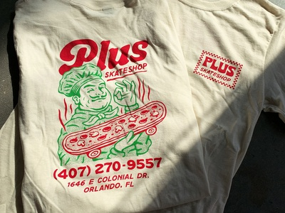 Plus Skateshop Tee pizza box tee tshirt skate skateboard plus skateshop pizza woodcut branding badge retro logo graphic design vintage travis pietsch illustration design