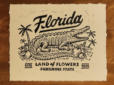 Florida Linocut lino print gator aligator palm tree prints print making linocut logo badge graphic design texture stamp vintage woodcut travis pietsch design illustration