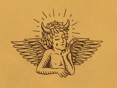Cherub wings cherub tarot occult graphic design texture stamp vintage woodcut travis pietsch design illustration
