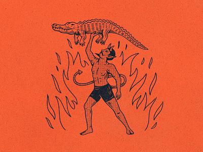 Florida Summer devil retro halftone heat summer gator florida occult texture stamp graphic design vintage woodcut travis pietsch design illustration